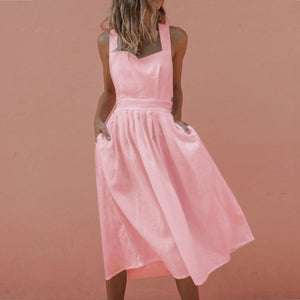 VIEUNSTA Sundress Sexy Backless Criss Cross Pleated Midi Dress Women