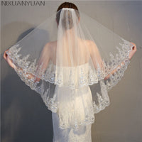 2019 Cheap Two Layears White Ivory Wedding Veil Bridal Veil Short