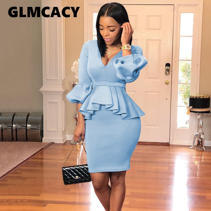 Womens 2 Pieces Elegant Ruched Zipper Peplum Vintage Casual Wear To Work Office Business Party Bodycon Pencil Sheath Dress