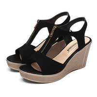 Women Sandals Wedge Sandals Platform Zip Summer Women Shoes Black