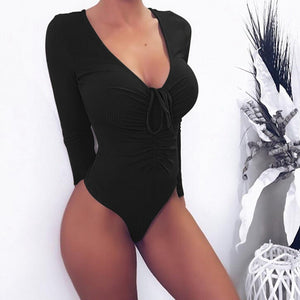 Laamei 2019 Sexy Solid Bodysuits Women Stretch Top Long Sleeve V-neck Body Lace-up Jumpsuit Slim Fit Mujer Rompers Beach Wear