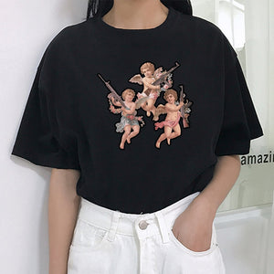 You don't want to be close to my angel print personality summer women's Harajuku fashion casual O-neck women's T-shirt tops