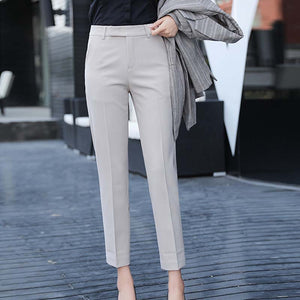 Women Slim Straight Suit Pants Female Summer Korean High Waist Pockets Trousers Women Causul Solid Loose AnkleLength Cargo Pants