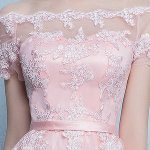 Short Lace Sleeve Prom Dresses Boat Neck Evening Party Dress 2019