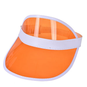Summer Women Men Sun Hat Candy Color Transparent Empty Top Plastic PVC Sunscreen Hat Visor Caps Bicycle Sunshade Hat