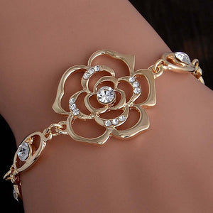 MISANANRYNE Hot 1pc Gold Color Austrian Crystal Hollow Charming Rose Flower