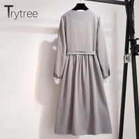 Trytree Spring Summer Dress Women Casual Polyester and Cotton Striped Parchwork colors A-line Dress Sashes Knee-Length Dress