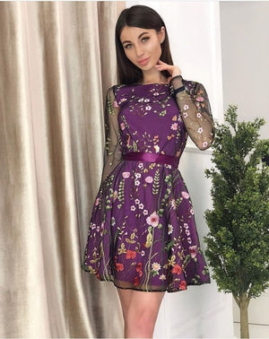Sexy Women Floral Embroidery Dress Sheer Mesh Boho A-line Mini Dress Office Lady See-through Lace Dress 2019 Vestidos De Festa