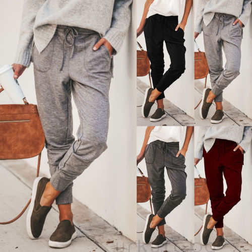 Women Jogger Pants Casual Loose Drawstring Sweatpants Sports Soft Harem Trousers Ladies Solid Pencil Long Pants Female Clothing