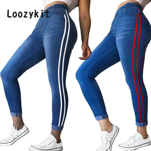 LOOZYKIT Women's Jeans Fashion Side Ribbon Feet Tall Waist  Elastic Jeans Trousers Women's New Tight-fitting Jeans Trousers