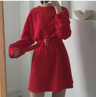 dress women spring autumn korean style dress ladies solid color loose t shirt