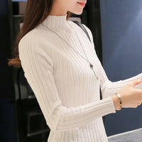 2019 Autumn and winter New Korean Half turtleneck Sweater jacket Womens Long Sleeve Set head All-match knitted Sweater woman