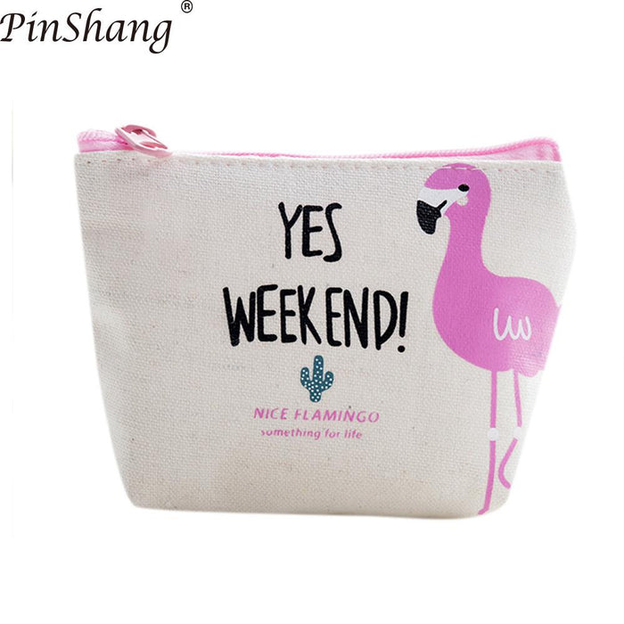 PinShang Women Wallet Girl Coin Purse Cute Flamingo Zipper