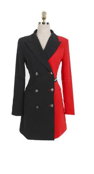 Wonderful Woman Blazer Formal Dress For Work Autumn Double-breasted black and red Patchwork Three Quarter Sleeve Pencil Dresses