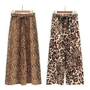 ROPALIA New Fashion Casual High Waist Leopard Print Loose Women Pants Comfort