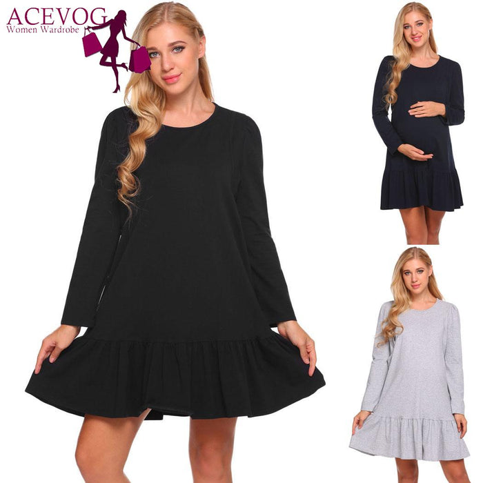 ACEVOG Long Lounge Ruffled Sleepwear Nursing Nightgown Women Dress Maternity Dress Sleeve