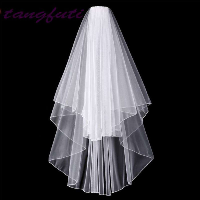 Cheap Tulle Short Bridal Veil With Comb White Ivory Wedding Veil Pencil