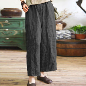 2019 ZANZEA Pants Women Elastic Waist Solid Trousers Pockets Work Pantalon Palazzo Ladies Plus Size Summer Wide Leg Pant 5XL