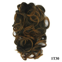 Soowee Short Curly Synthetic Hair Black To Burgundy Clip In Hair Extension Little Pony Tail Claw Ponytail False Hair on Clips