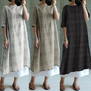 Women Vintage Plaid Linen Dresses  Oversized Women Casual Loose