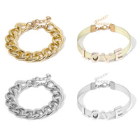 SHIXIN Punk Exaggerated Thick Chain LOVE Bracelet Bangle Jewelry Women