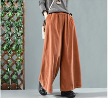 Autumn Winter Pants Retro Loose Women Trousers Elastic Waist pocket Solid color