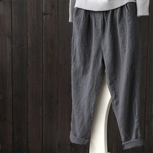 ZANZEA 2019 Spring Women Casual Solid Cotton Linen Baggy Long Pants Vintage Elastic Waist Turnip Pencil Trousers Harem Pantalon