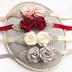 New Rose Flower Bridal Belts Crystal Women Rhinestone Sash Wedding Party Bride Bridesmaid Satin Belt Dress Accessories