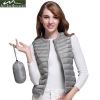 White Duck Down Vest Women's Ultra Light Duck Down Vest Jacket Autumn Winter