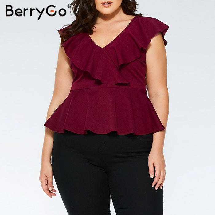 BerryGo Plus size blouse ruffled v-neck women blouse shirt Elegant sleeveless solid female tops Casual summer peplum tops 2019