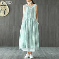 2019 ZANZEA Striped Shirt Dress Womens Sundress Female V Neck Summer