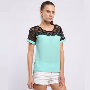 BIBOYAMALL Blouses For Women Summer Women Tops Lace Short Sleeve Casual Chiffon Blouse Female Work Wear Shirts Top Plus size 5XL
