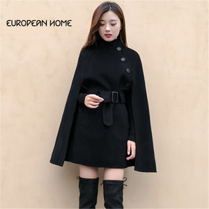 High Quality Autumn Winter Poncho Coat Women Elegant Korean Clothes Outerwear Plus Size Hooded Poncho Wool Coat Women
