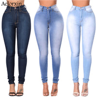 2019 Slim Jeans for Women Skinny High Waist Jeans Woman Blue Denim Pencil Pants