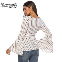 Benuynffy Fashion Striped Layered Sleeve Wrap V Neck Peplum Blouse 2019 Spring Women Flare Long Sleeve Casual Tops and Blouses