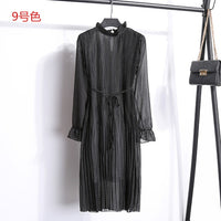 Women Printing Pleated Dresses With Sashes Casual Spring Autumn Dresses Ladies