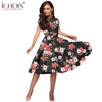 Casual A Line Floral Print Vintage Dresses Ladies Office Party Bodycon Dress With Sashes