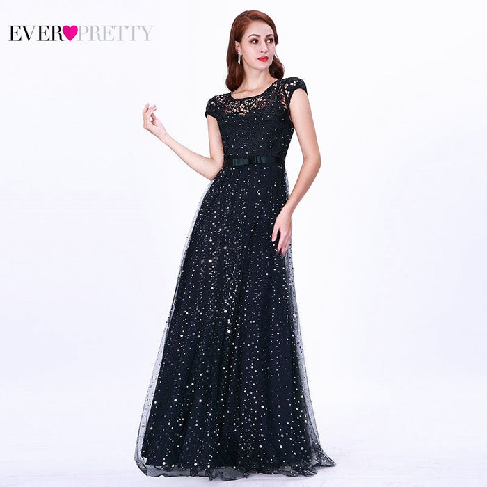 Prom Dresses Long 2019 Ever Pretty EZ07650 Women's Elegant Navy Blue