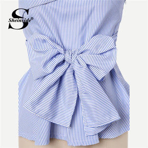 Sheinside Elegant Bow Front Summer Blouse Women Foldover One Shoulder Peplum Top 2019 Slim Blue Striped Womens Tops and Blouses