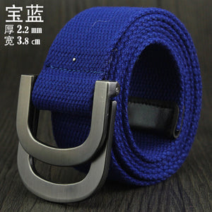 Male&female Military Tactical Belt High Quality 2.5 Mm Thick Solid Color Canvas Belt For Men&women Double Buckle 115cm Length