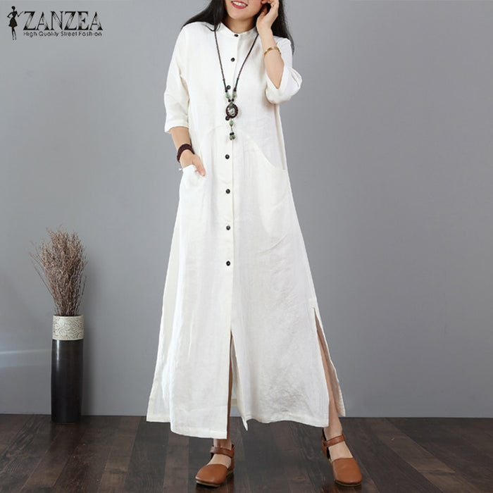 ZANZEA 2019 Autumn Long Maxi Dress Long Tops Women Button Down
