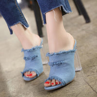 2019 women's summer shoes Denim open toed crystal block high heels shoes woman fringe Jean Lady party slipper sandals bule black