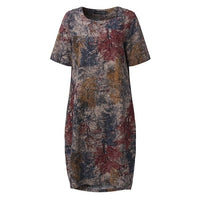 VONDA 2019 Summer Women Vintage Floral Print Maternity Dress Casual