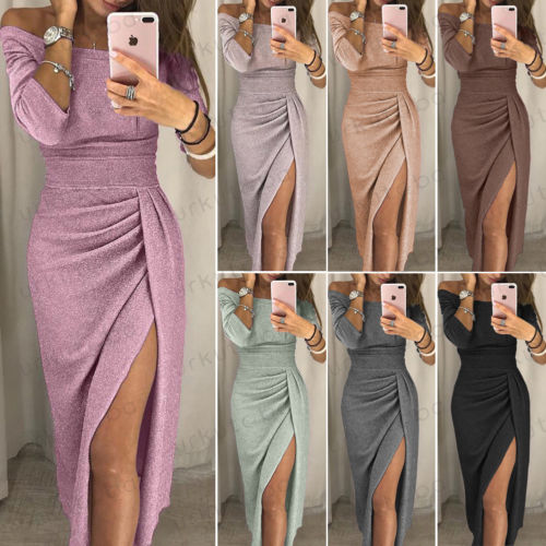UK Womens Cocktail Party Long Sleeve Bodycon Clubwear Long Split Dress Size 6-16