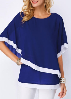 Chiffon Summer Women Shirt 2019 Bat Sleeve Stitching Irregular Loose Casual 5XL Big Tops And Plus Size Blouse For Female Tunic
