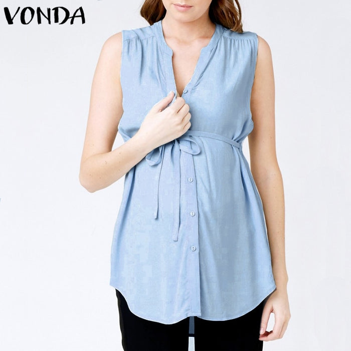 VONDA Maternity 2019 Women Summer Shirts Sexy V Neck Sleeveless Casual Loose Pregnancy Blouses Tops Plus Size Asymmetrical 5XL