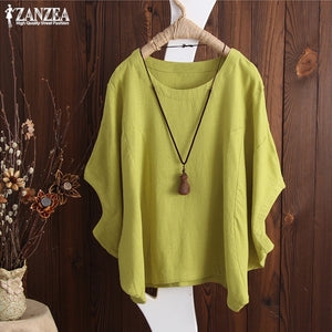 2019 ZANZEA Womens Shirts Plus Size Summer Blouse Batwing Sleeve Solid Baggy Blusas Feminina Work Top Lady Kaftan Casual Chemise