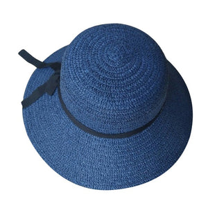Floppy Foldable sun caps Ribbon Round Flat Top Straw beach hat Panama Hat summer hats for women straw hat  Z0325 HOT