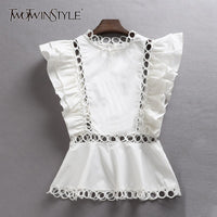 TWOTWINSTYLE Sleeveless Shirt Female Ruffles Hollow Out Patchwork Tunic High Waist Blouse For Women Summer 2018 Fashion OL Tops