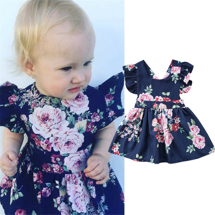 Fashion Newborn Kids Baby Girls Dress Floral Backless Party Pageant Dress Sundress Baby Clothes